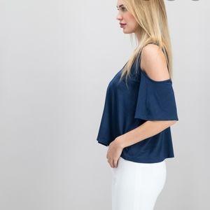 Rachel Rachel Roy blue cold shoulder blouse M